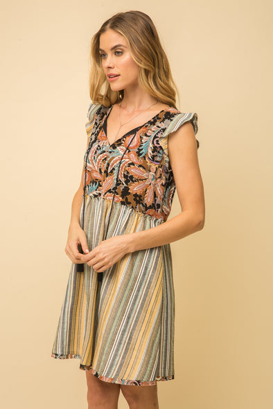 dress, mix print and stripe