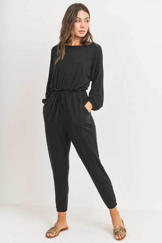 Brielle Balloon Sleeves Knit Jumpsuit