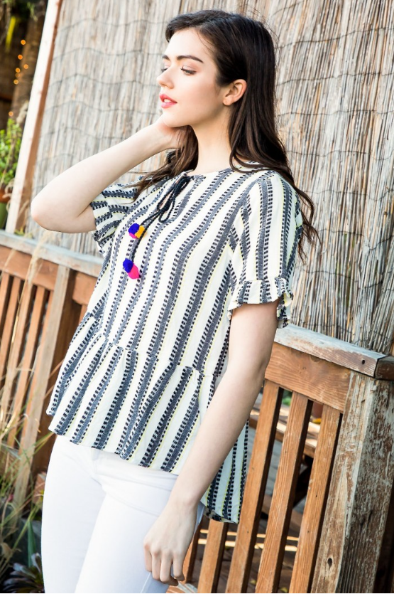 Neon Lights Striped Pom Top