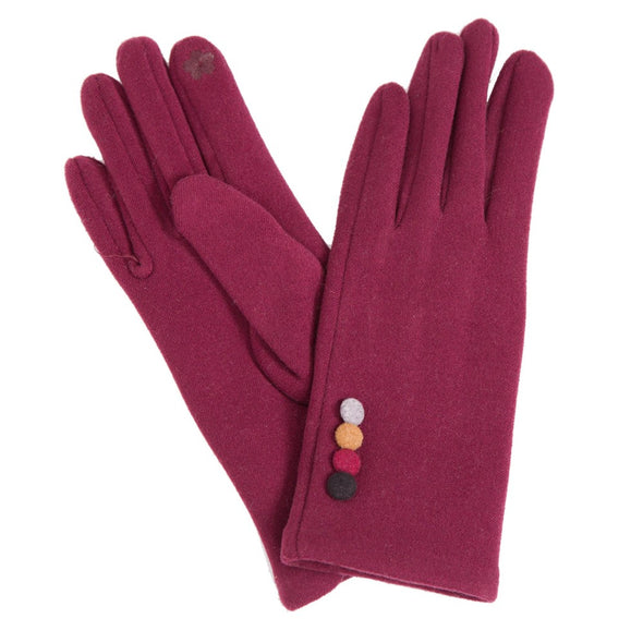 Fleece Glove With Buttons