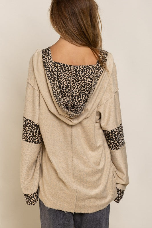Reversible Leopard Print Top with Hood