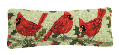 Winter Cardinals Hook Pillow