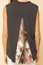 Load image into Gallery viewer, top, sleeveless drape with back pleat and floral inset