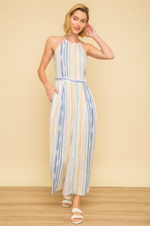Multi-Stripe Halter Jumpsuit