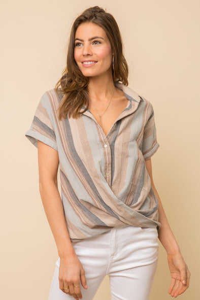 Striped Faux-Wrap Top
