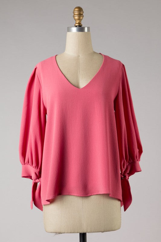 Knot End Sleeve V-Neck Top