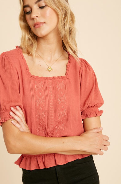 Darby Embroidered Smocked Top