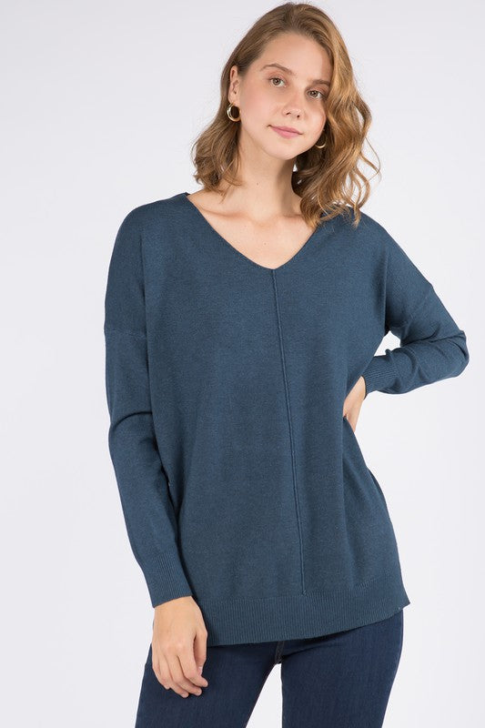 Front Seam V-Neck Sweater