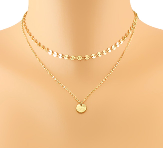 Stella Disc Chain Layer Choker