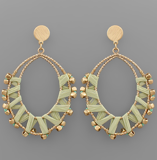 Rylee Raffia Wrapped Marquise Earrings