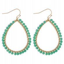 Load image into Gallery viewer, earring, beaded teardrops Malachite