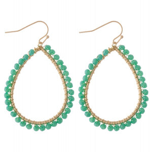earring, beaded teardrops Malachite