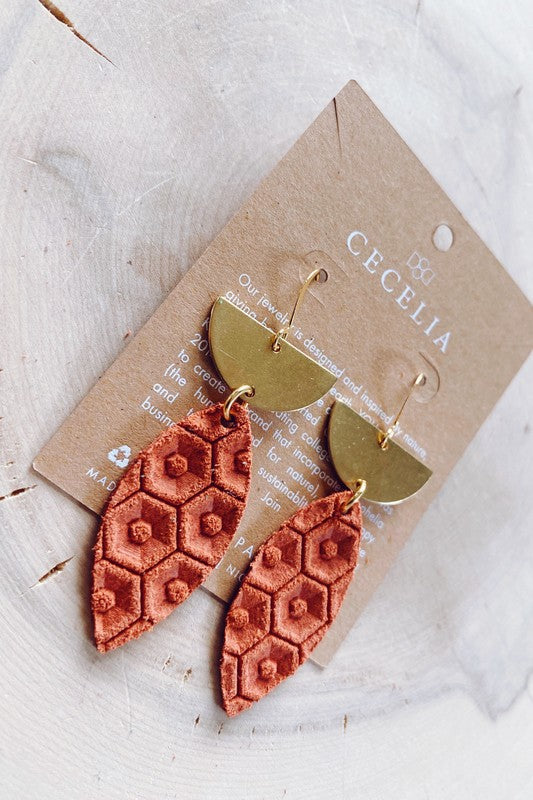 Rust Leather Earring