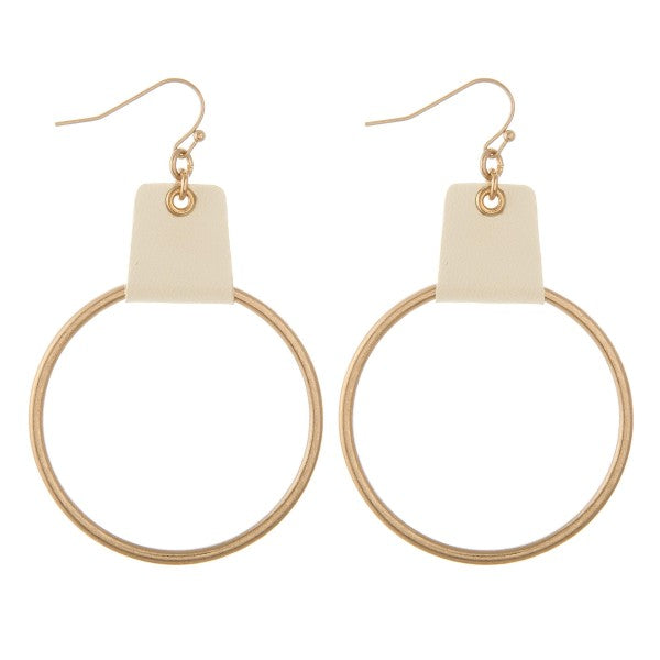 earring faux leather cuffed drop Gold/Ivory