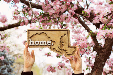 Wooden Home State Plaque