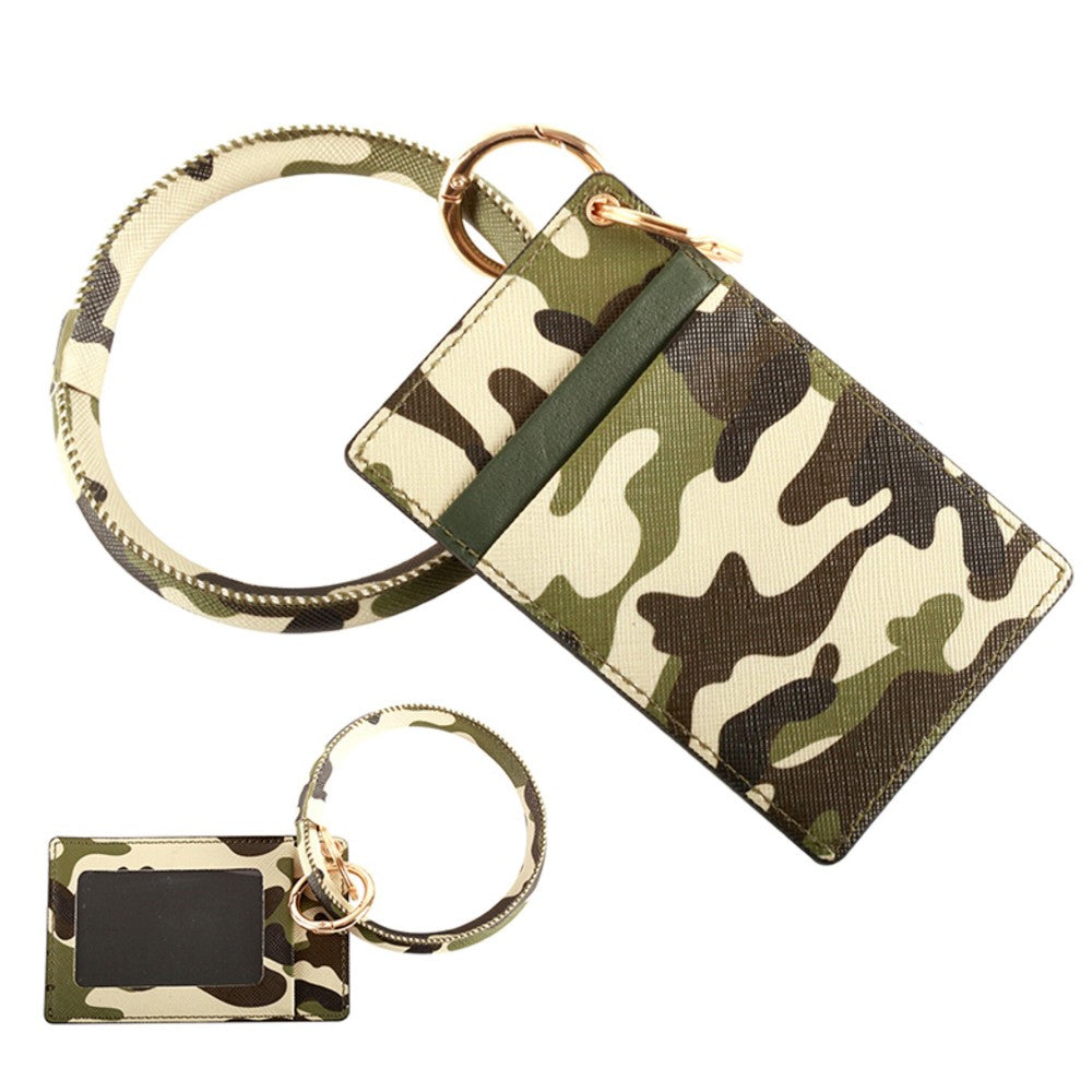 Faux Leather Camouflage CC/ID Key Ring Bangle Wristlet