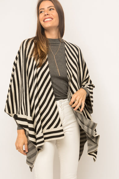 Opposites Attract Striped Poncho