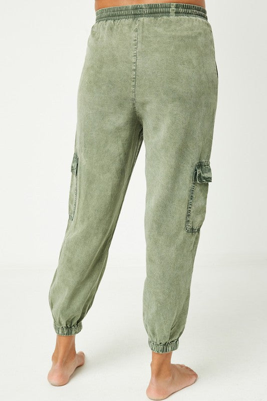 Mineral Washed Cargo Joggers