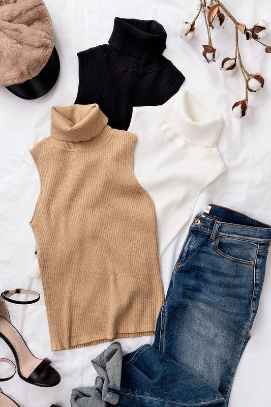 Rib Knit Sleeveless Turtleneck Top