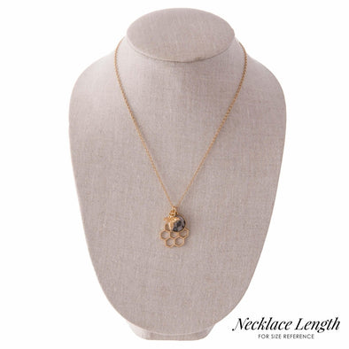 Gold Honeycomb Pendant Necklace