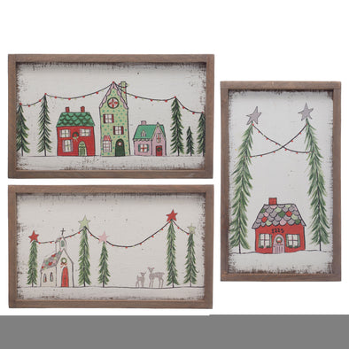 Wood Framed Christmas Wall Decor