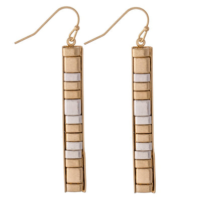 Two Tone Metal Tile Bar Earrings