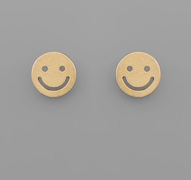 Smiley Face Gold Stud Earrings