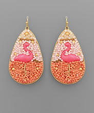 Load image into Gallery viewer, earring, beaded flamingo Pink