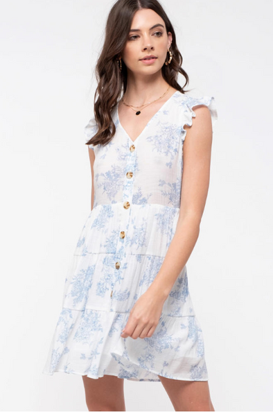 Tiered Toile Dress