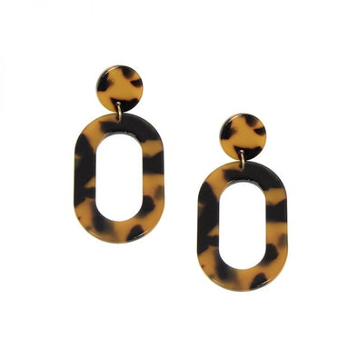 Tortoise Oval Resin Earring