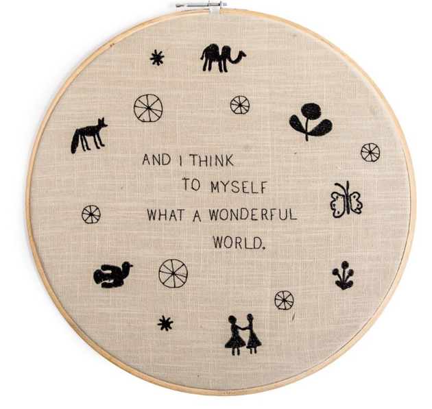 Wonderful World Embroidery Hoop Wall Hanging