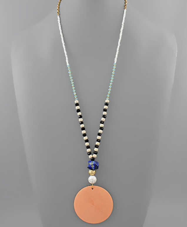 Etta Disk Pendant Wood & Stone Necklace