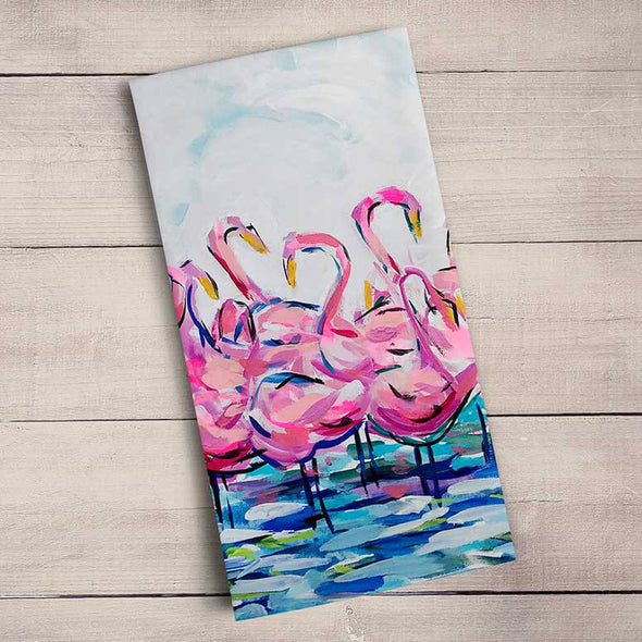 Flamingo Flock Teatowel
