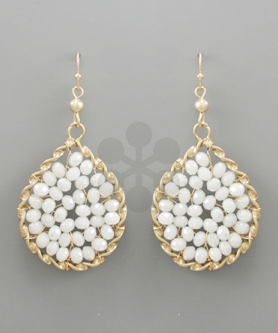 earring, water drop with white beads