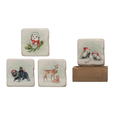 Holiday Woodlands Coaster Set