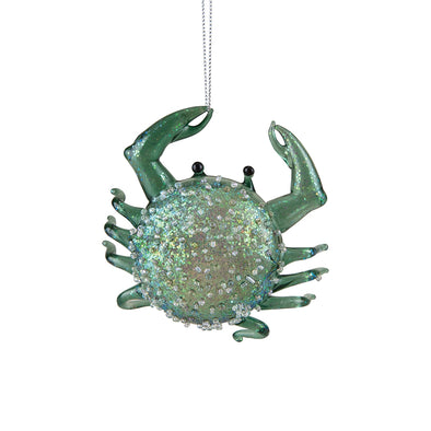 Seafoam Glitter Crab Ornament