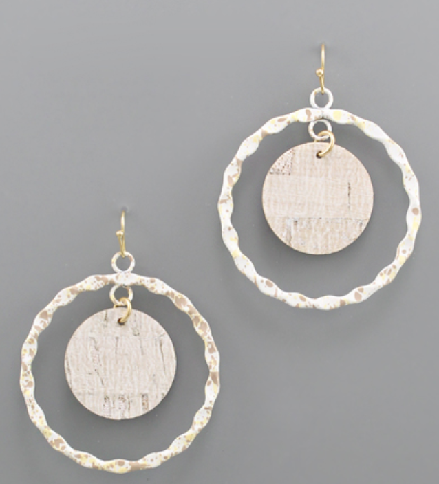 Willa Cork  Circle & Splattered Dangle Earrings
