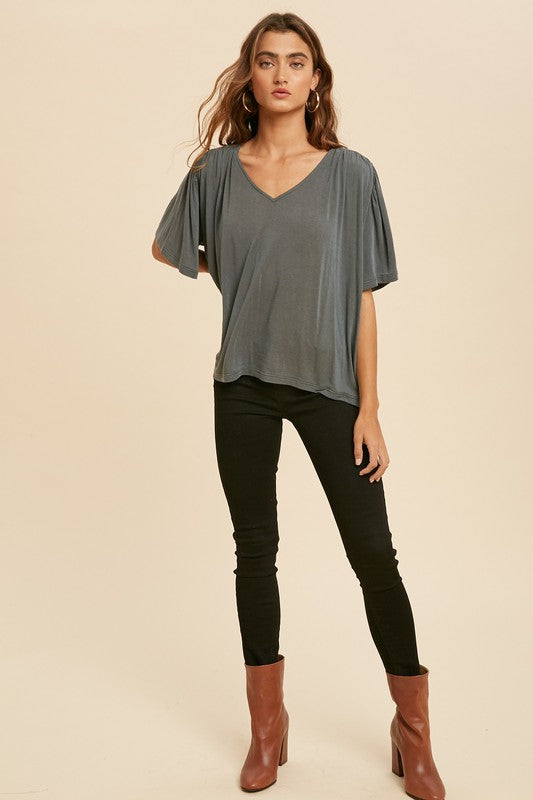 Luna Flutter Sleeve V-Neck Top