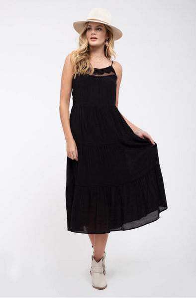 Tiered Crochet Trim Midi-Dress