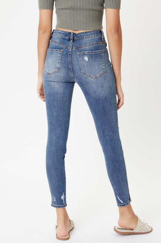 Front Button Super Skinny Jeans