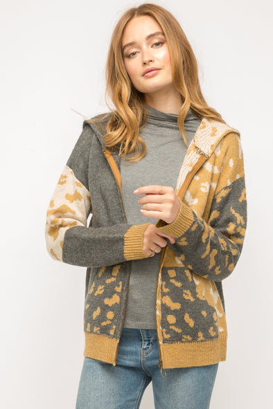 Elora Leopard  Zip-Up Sweater