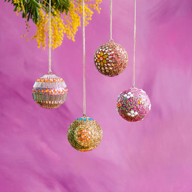 Beaded Borealis Ball Ornament