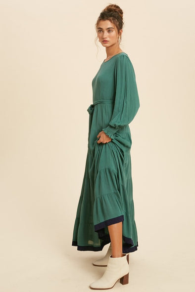 Shannon Tiered Constrast Edge Maxi Dress