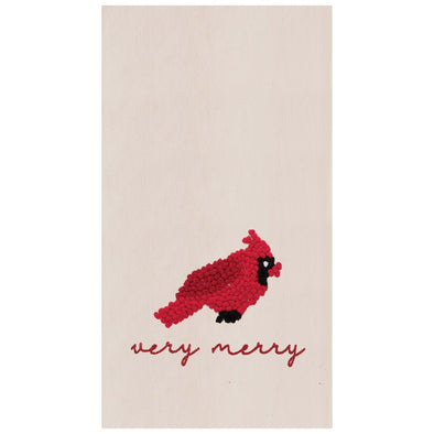 Very Merry Cardinal Tea Towel