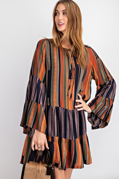James Printed Bell Sleeve Dress