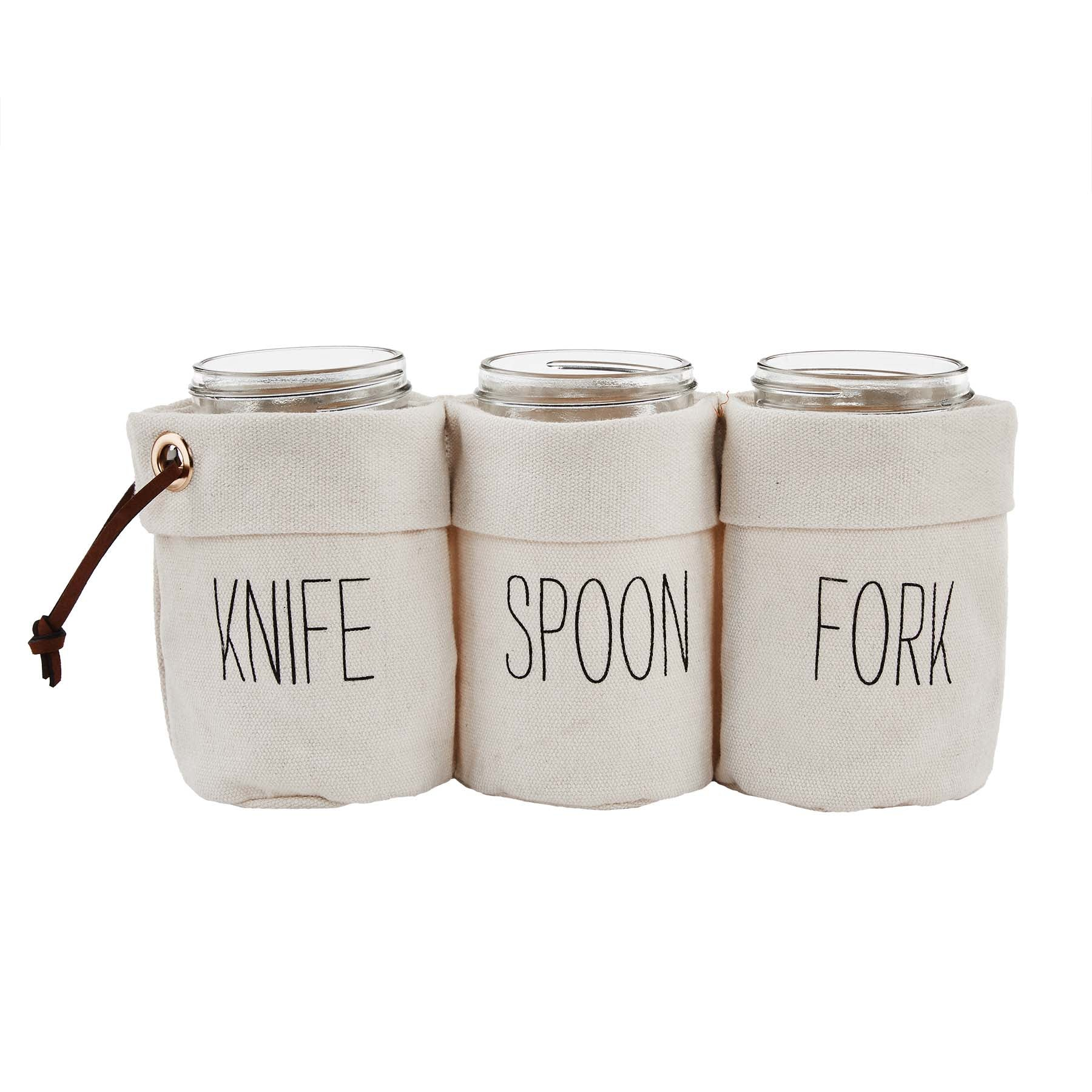 Canvas Jar Utensil Caddy