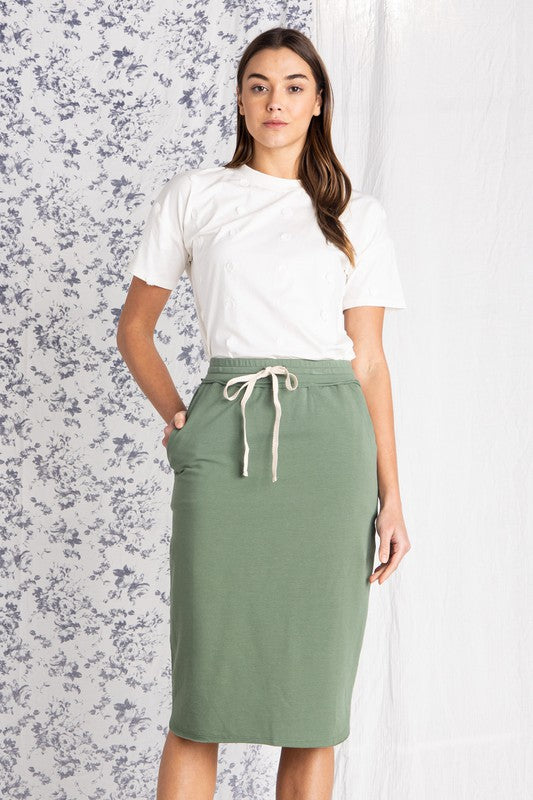 Cotton Drawstring Midi Skirt
