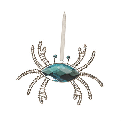 Jeweled Blue Crab Ornament