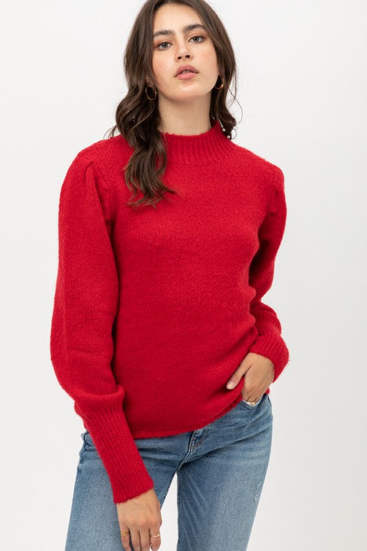 Tweed Puff Sleeve Sweater