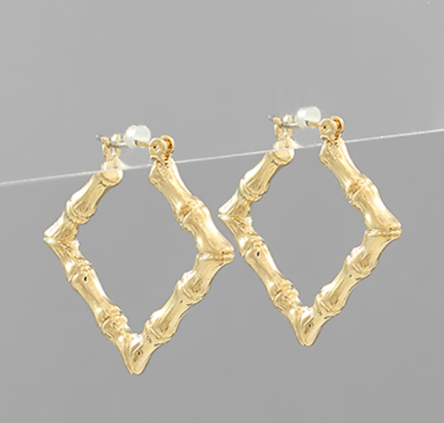 Calla Gold Bamboo Square Hoops
